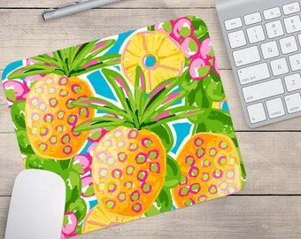 Pineapple Mouse Pad, Tropical Mouse Pad, Patterned Mouse Pad, Pineapple Coaster, Tropical Coaster (0050)