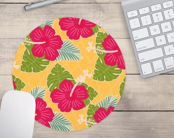 Pink Hibiscus Mouse Pad, Tropical Mouse Pad, Pattern Mouse Pad, Hawaii Mouse Pad, Hibiscus Coaster, Tropical Coaster (0038)