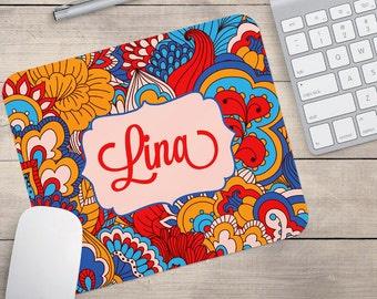 Blue and Orange Floral Mouse Pad, Personalized Mouse Pad Retro Mouse Pad, Patterned Mouse Pad (0024)