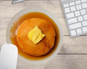 Pancake Mouse Pad, Pancakes Mouse Pad, Breakfast Mouse Pad, Food Mouse Pad, Pancake Coaster (0052)