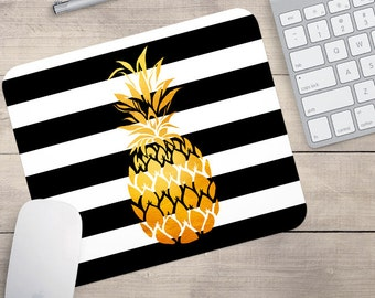 Gold Foil Pineapple Mouse Pad, Glitz Mouse Pad, Black and White Stripes Mouse Pad, Personalized Mouse Pad, Name On Mouse Pad (0076)