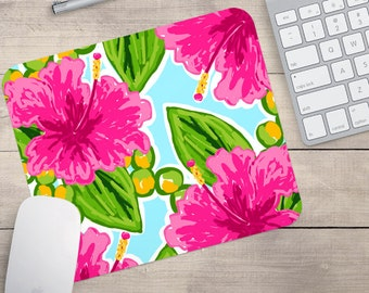 Hibiscus Water Color Mouse Pad, Tropical Hibiscus Mouse Pad, Patterned Mouse Pad, Hibiscus Coaster, Tropical Coaster (0051)