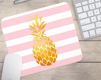 Gold Faux Foil Pineapple Mouse Pad, Glitz Mouse Pad, Light Pink and White Stripes Mouse Pad, Personalized Mouse Pad, Name On Mousepad (0085)