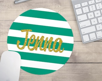 Teal Gold Glitter Mouse Pad, Glitz Mouse Pad, Faux Glitter Mouse Pad, Personalized Mouse Pad, Name On Mouse Pad (0083)