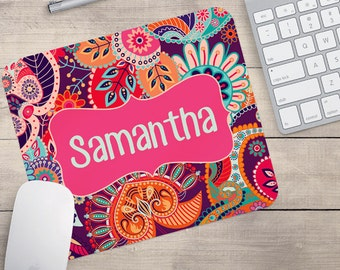 Pink Mouse Pad, Retro Mouse Pad, Flower Mouse Pad, Name on Mouse Pad, Monogram Mouse Pad, Custom Mouse Pad (0012)