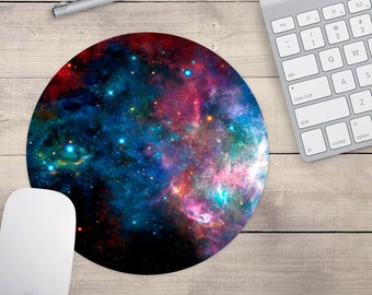 Blue And Purple Galaxy Mouse Pad, Outer Space Mouse Pad, Galaxy Mouse Pad (0065)
