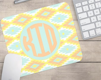 Aztec Mouse Pad, Yellow and Aqua Aztec Mouse Pad, Personalized Mouse Pad, Custom Mouse Pad, Monogram Mouse Pad (0066)