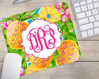 Hawaiian Lilly Mouse Pad, Tropical Mouse Pad, Pineapple Mouse Pad, Custom Mouse Pad, Monogrammed Mouse Pad (0029)