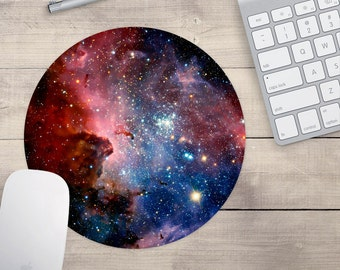 Red and Blue Galaxy Mouse Pad, Outer Space Mouse Pad, Galaxy Mouse Pad, Galaxy Coaster (0061)