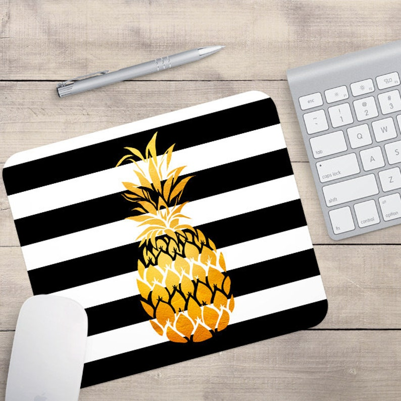 Faux Gold Foil Pineapple Mouse Pad Glitz Mouse Pad Black and image 0