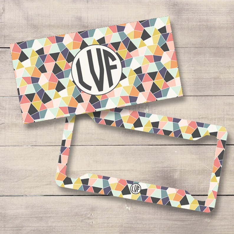 Geometric Monogram License Plate and Frame Personalized image 0