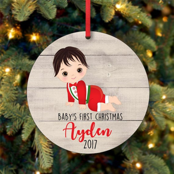 Baby Boy First Christmas Ornament Personalized Christmas Ornament Custom Ornament Black Hair Baby Boy Christmas Ornament 0104