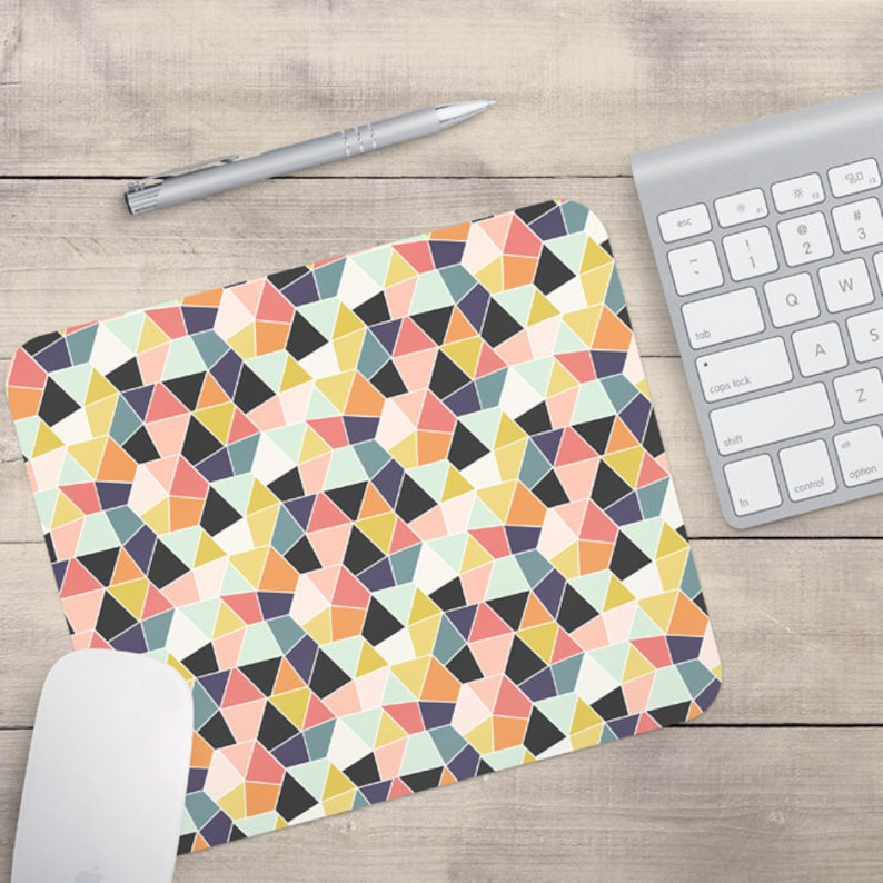 Geometric Mouse Pad Retro Mouse Pad Patterned Mouse Pad image 0