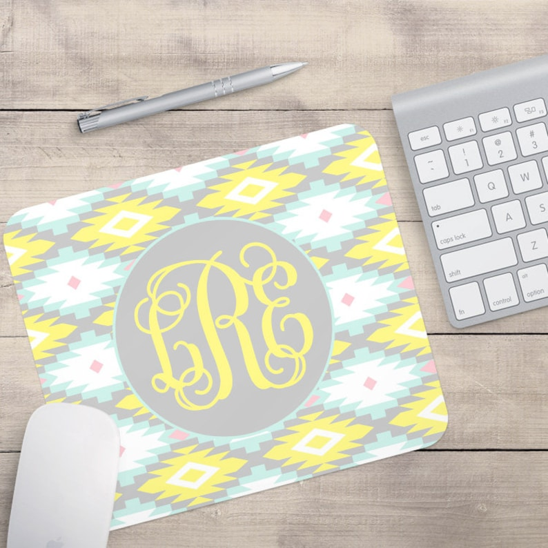 Aztec Mouse Pad Yellow and Blue Aztec Mouse Pad Personalized image 0