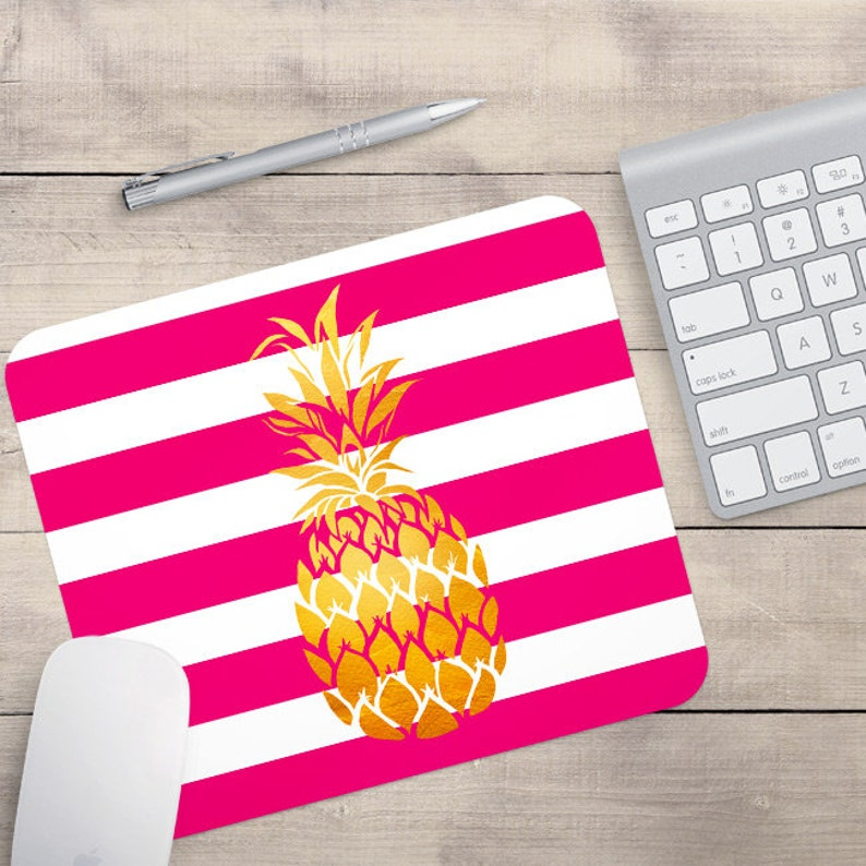 Pink Faux Gold Foil Pineapple Mouse Pad Glitz Mouse Pad Pink image 0
