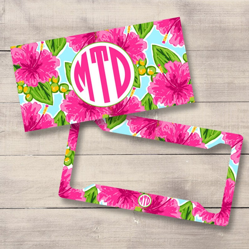 Pink Hibiscus Personalized Car Tag Lilly Inspired Monogram image 0