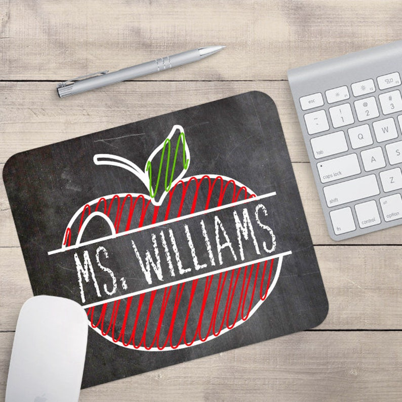 Personalized Teacher Mouse Pad Teacher Custom Gift Apple image 0