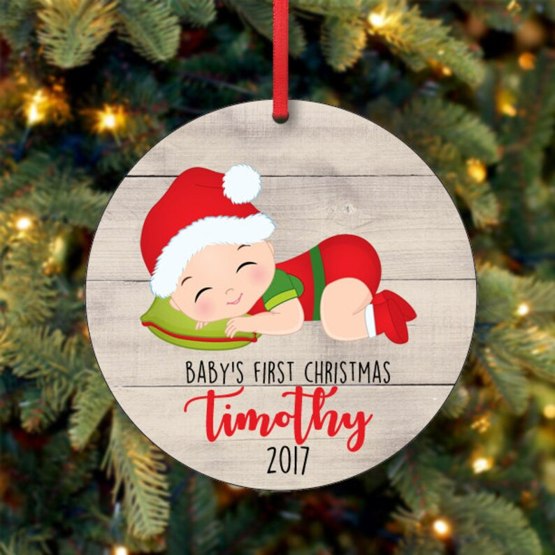Baby's Boy First Christmas Ornament Personalized image 0