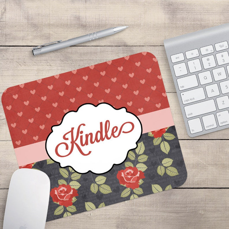 Grey Red Flower Mouse Pad Heart Mouse Pad Floral Mouse Pad image 0