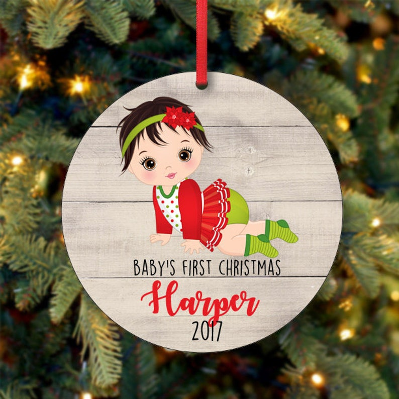 Baby's Girl First Christmas Ornament Personalized image 0