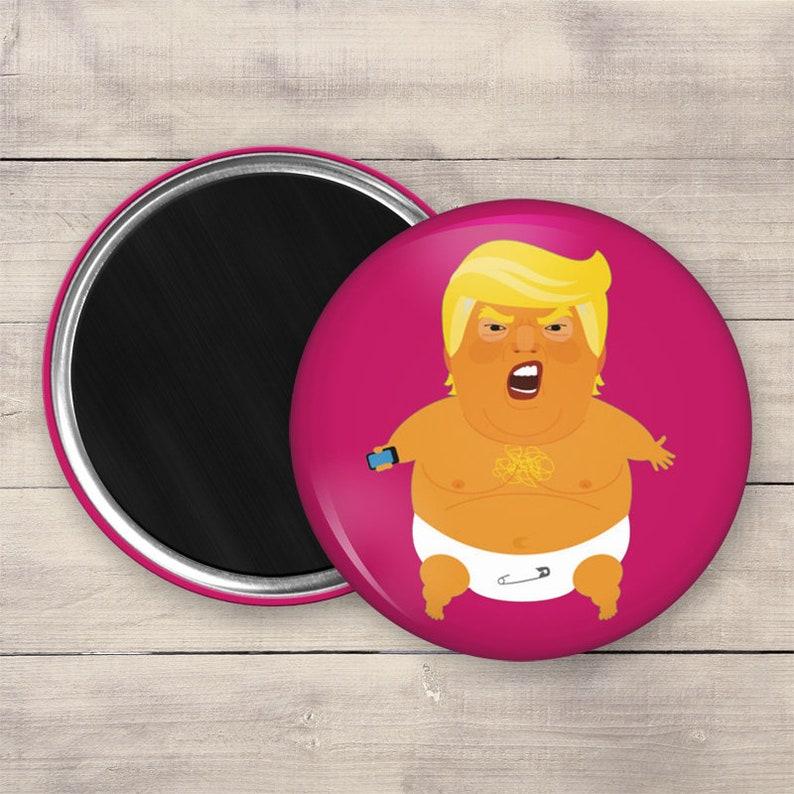 2.25 Pink Baby Trump Blimp Magnet Donald Trump Magnet image 0