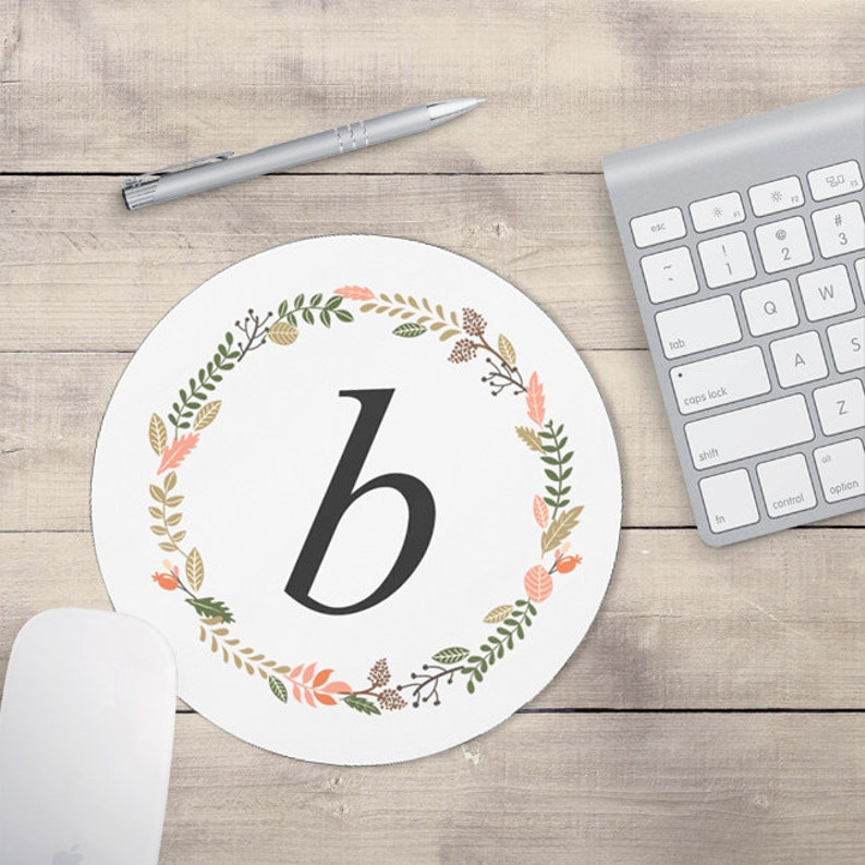 Light Grey Monogram Mouse Pad Mouse pad Floral Personalized image 0