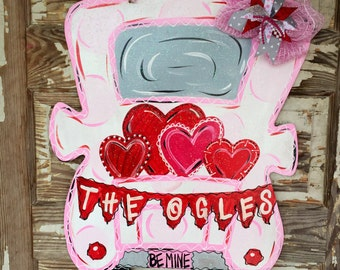 Personalized Door Hanger Valentines Day Door Hanger Valentine Door Hanger Valentines Decor Spring Door Hanger Valentines Wreath