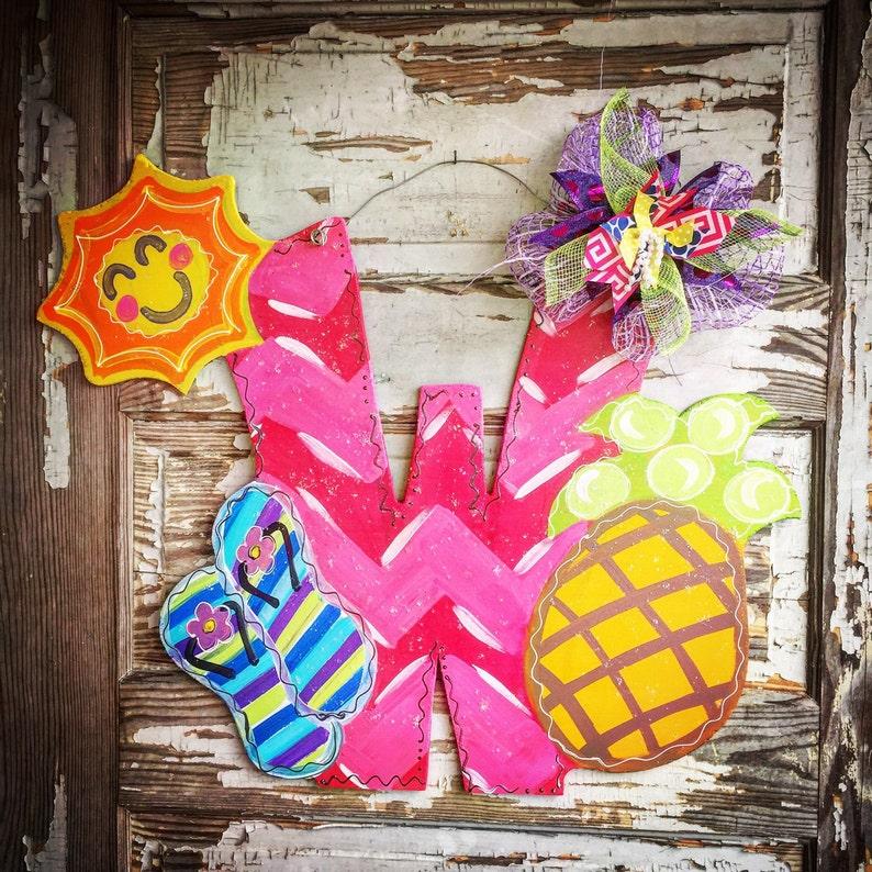 Summer Wreath Summer Porch Sign Beach Wreath Beach Door Hanger Summer Door Hanger Personalized Door Hanger Summer Decor Summer