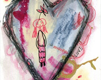 Abstract Heart #3 by Michelle Lansdale framed not included mixed media on 5x7 watercolor paper