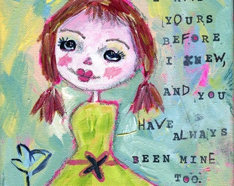 Lindsay - mixed media on 8X8 canvas-No frame included