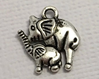 Elephant Charms x 5 Silver Pendant Pachyderm Circus Zoo Jewellery #234