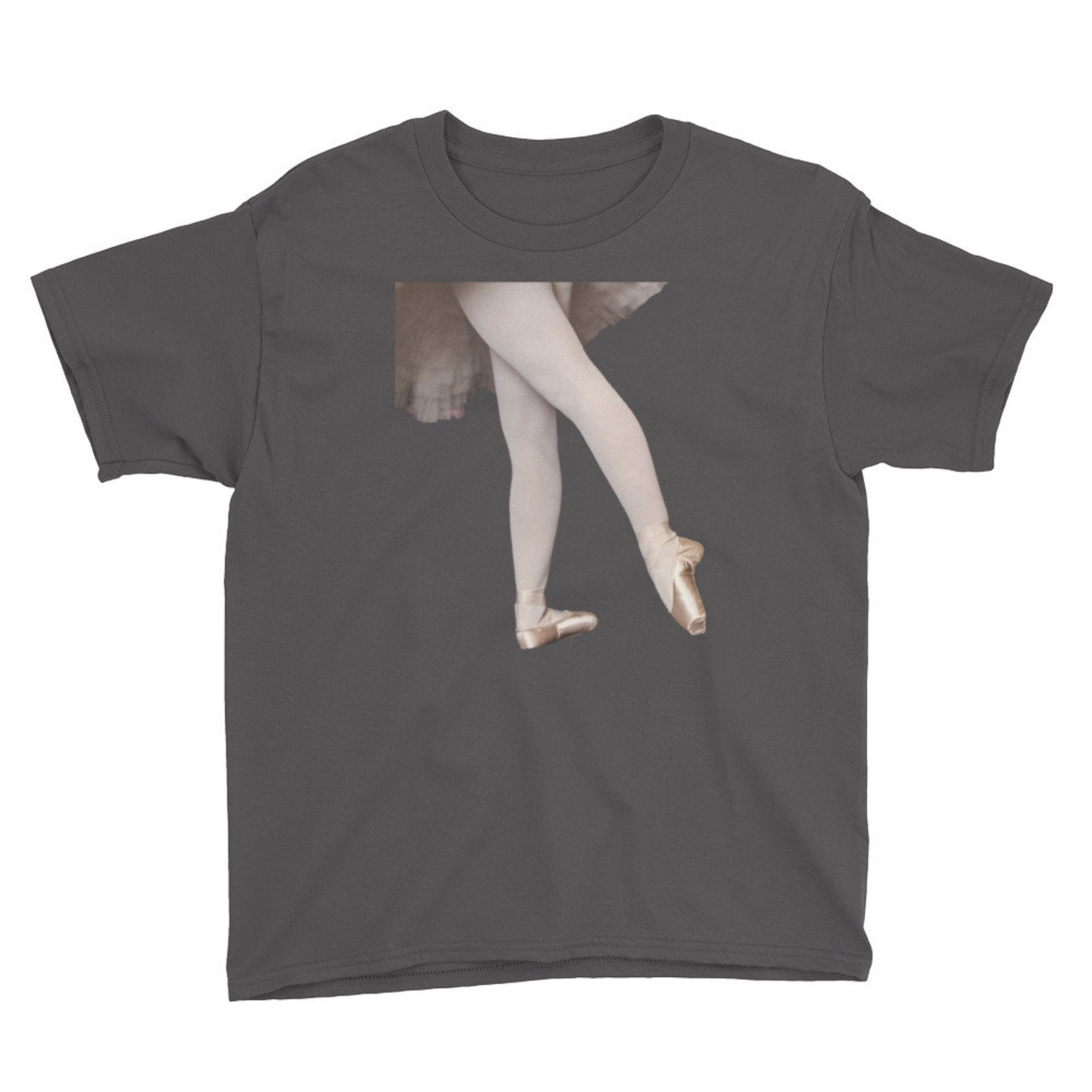 youth t-shirt/ballet feet screen printed shirt/children boutique/dancer/ballerina/sew on pointe