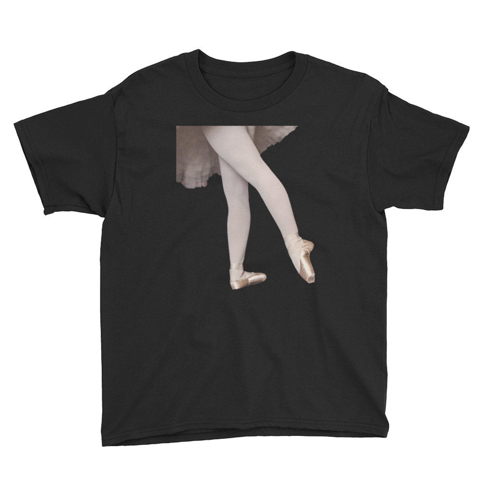 youth t-shirt/ballet feet screen printed shirt/children boutique/dancer/ballerina/sew on pointe