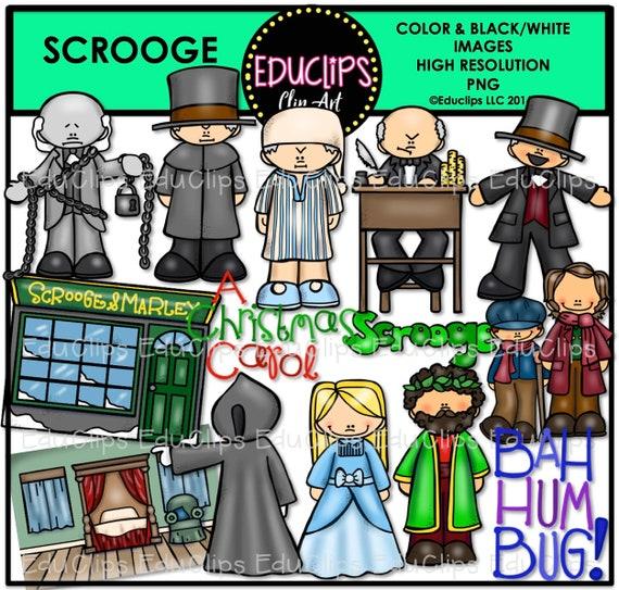 Christmas Carol Scrooge Clipart.Scrooge Clip Art Set