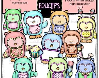 Spring Owls Clip Art Bundle