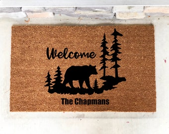 Personalized Door Mat Cabin Decor Mountain Home Bear Mothers Day Fathers House Warming Gift Rustic Woods