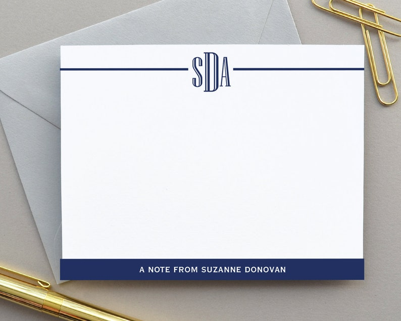Flat Notecards Personalized Stationary Monogram Stationery Monogrammed Note Card Set Thank You Notes Stationary Simple Initial Notecards