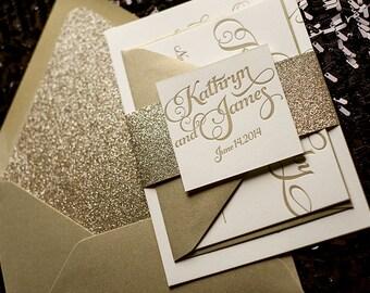 Gold Glitter Letterpress Wedding Invitation, Calligraphy Invitation, Gold Glitter Wedding Invite - Deposit to Get Started