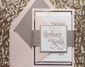 Blush & Gold Glitter Wedding Invitation, Gold Glitter Wedding Invite, Blush Invitation - Deposit to Get Started