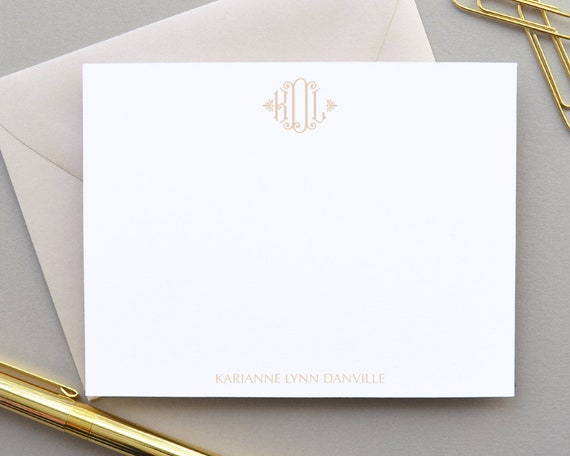 Monogram Stationary Monogrammed Note Card Personalized Note Cards Set Flat Notecards Thank You Notes Stationary Simple Initial Notecards