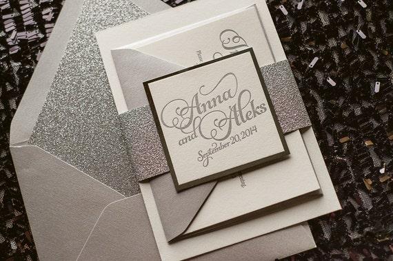 Silver Glitter Wedding Invitation Calligraphy Invitation  57ce1c3c434d