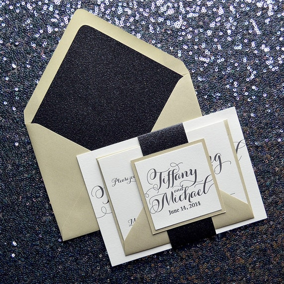 Matchy Matchy Letterpress Invite And Handmade Envelope: Glitter Champagne Letterpress Wedding Invitation Black