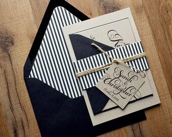 Rustic Wedding Invitation, Black & Kraft Wedding Invite - LASER PRINTED Deposit to Get Started