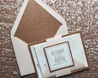 Blush & Rose Gold Glitter Wedding Invitation, Rose Gold Wedding Invite, Blush Invitation, Monogram - Deposit to Get Started