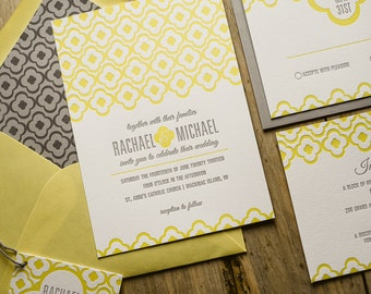 Yellow & Gray Wedding Invitation, Yellow Wedding Invite, Moroccan-tile Invitation, Gray Invitation - Deposit to Get Started