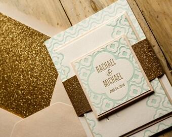 Peach & Mint Glitter Wedding Invitation, Mint Wedding Invite, Moroccan-tile Invitation, Peach Invitation - Deposit to Get Started