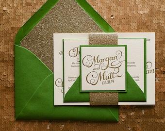 Emerald & Gold Glitter Wedding Invitation, Gold Glitter Wedding Invite, Calligraphy Invitation, Green Invitation - Deposit to Get Started