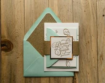 Mint & Gold Glitter Wedding Invitation, Gold Glitter Wedding Invite, Calligraphy Invitation, Mint Invitation - Deposit to Get Started