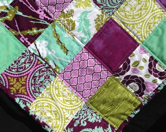 Shabby Chic Purple, Green and Mint Baby Girl Patchwork Quilt