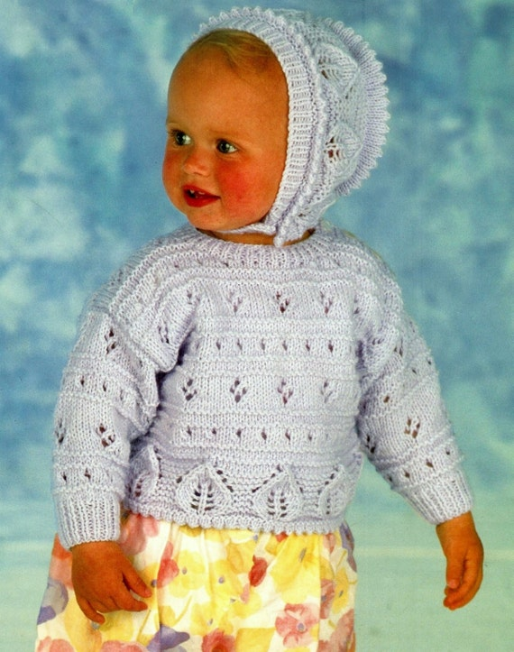 d4c5aabab9b9 Baby Jumper and bonnet in DK 8ply yarn for sizes 18 to 24